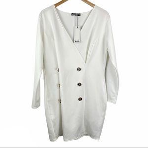 NWT Boohoo White Bodycon Double Button Mini Dress